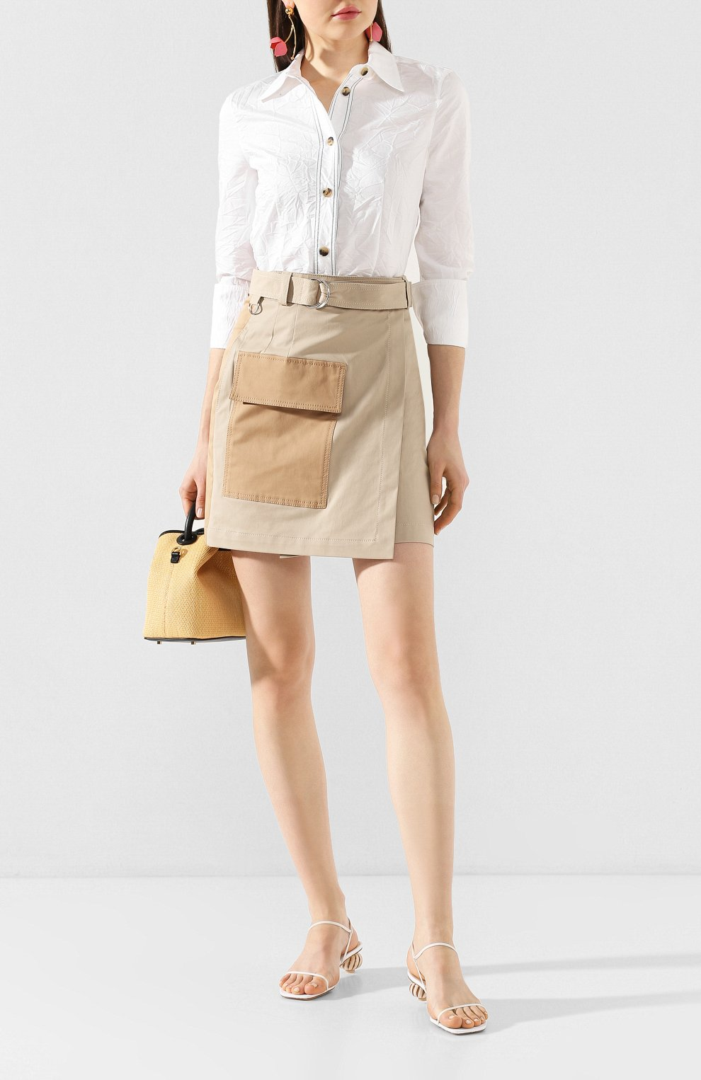 Женские кожаные босоножки manosque JACQUEMUS белого цвета, арт. 201F006/78100 | Фото 2