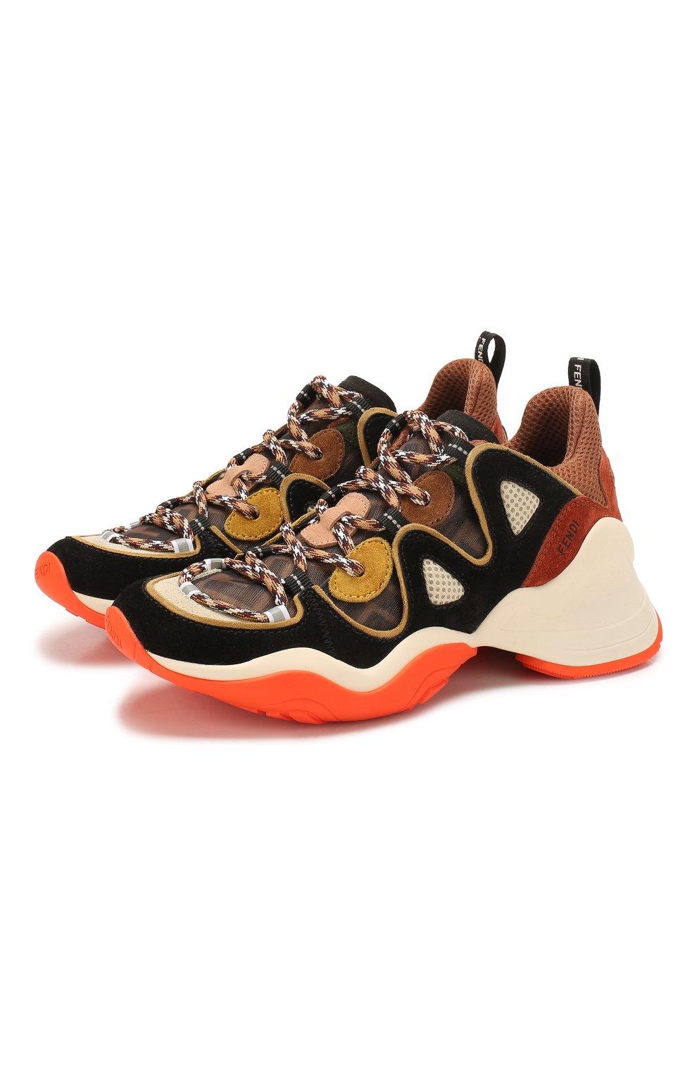 Женские комбинированные кроссовки FENDI разноцветного цвета, арт. 8E7043 A8P5 | Фото 1