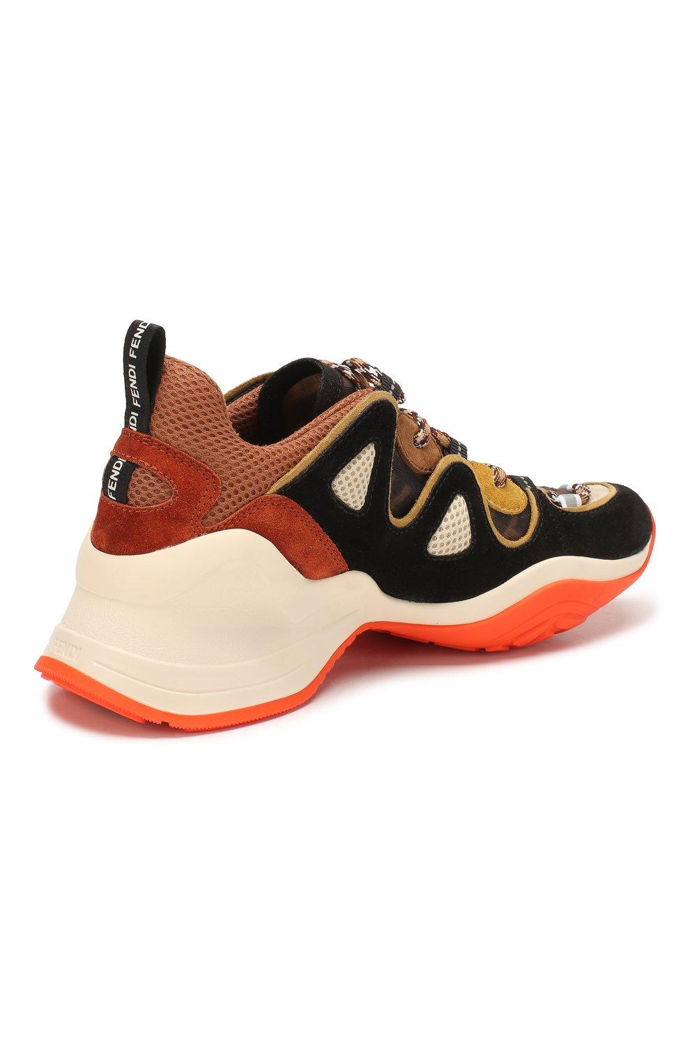 Женские комбинированные кроссовки FENDI разноцветного цвета, арт. 8E7043 A8P5 | Фото 4