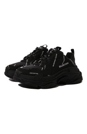 Женские кожаные кроссовки triple s BALENCIAGA черного цвета, арт. 524039/W2FA1 | Фото 1