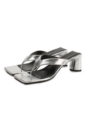 Женские кожаные мюли double square BALENCIAGA серебряного цвета, арт. 609639/WA973 | Фото 1