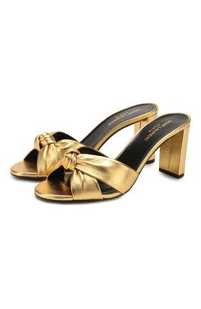 Женские кожаные мюли loulou SAINT LAURENT золотого цвета, арт. 620130/0XQ00   Фото 1