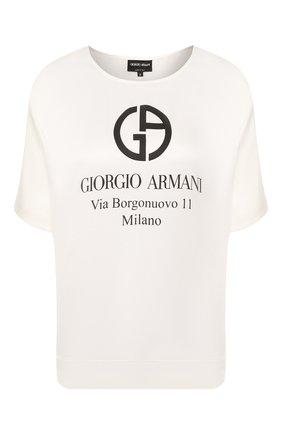 Женская шелковая футболка GIORGIO ARMANI белого цвета, арт. 0SHCCZ20/TZ500 | Фото 1