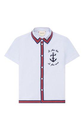 Детский хлопковая рубашка GUCCI голубого цвета, арт. 591633/XWAH0 | Фото 1