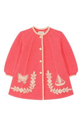 Детского хлопковое пальто GUCCI розового цвета, арт. 596300/XKA6Q | Фото 1
