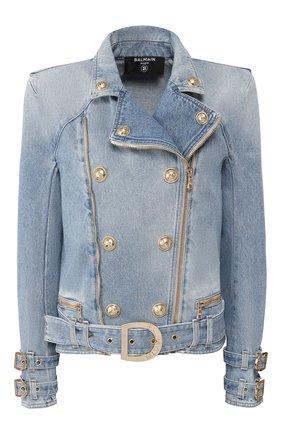 Женская джинсовая куртка BALMAIN голубого цвета, арт. TF18248/D006 | Фото 1
