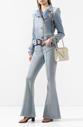 Женская джинсовая куртка BALMAIN голубого цвета, арт. TF18248/D006 | Фото 2
