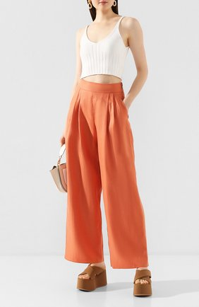 Женские льняные брюки EMPORIO ARMANI оранжевого цвета, арт. 5NP24T/52012   Фото 2