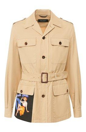 Мужская хлопковая куртка DOLCE & GABBANA бежевого цвета, арт. G9RS1T/FUFJ9 | Фото 1