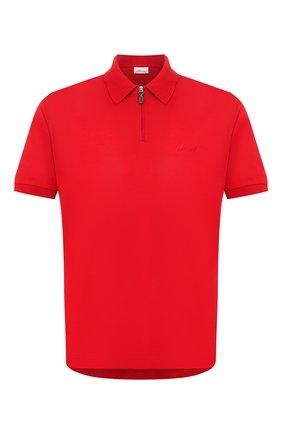 Мужское хлопковое поло BRIONI красного цвета, арт. UJDU0L/P9612   Фото 1 (Рукава: Короткие; Материал внешний: Хлопок; Длина (для топов): Стандартные; Застежка: Молния)