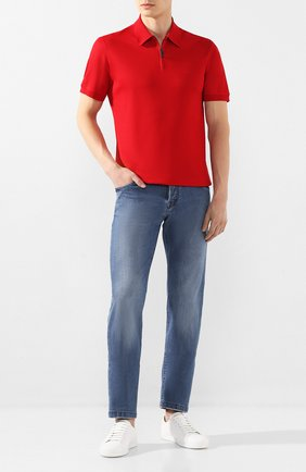 Мужское хлопковое поло BRIONI красного цвета, арт. UJDU0L/P9612   Фото 2 (Рукава: Короткие; Материал внешний: Хлопок; Длина (для топов): Стандартные; Застежка: Молния)