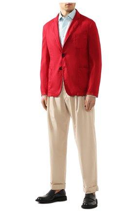 Мужской пиджак из смеси льна и хлопка GIORGIO ARMANI красного цвета, арт. 0SGGG0D9/T01FI | Фото 2
