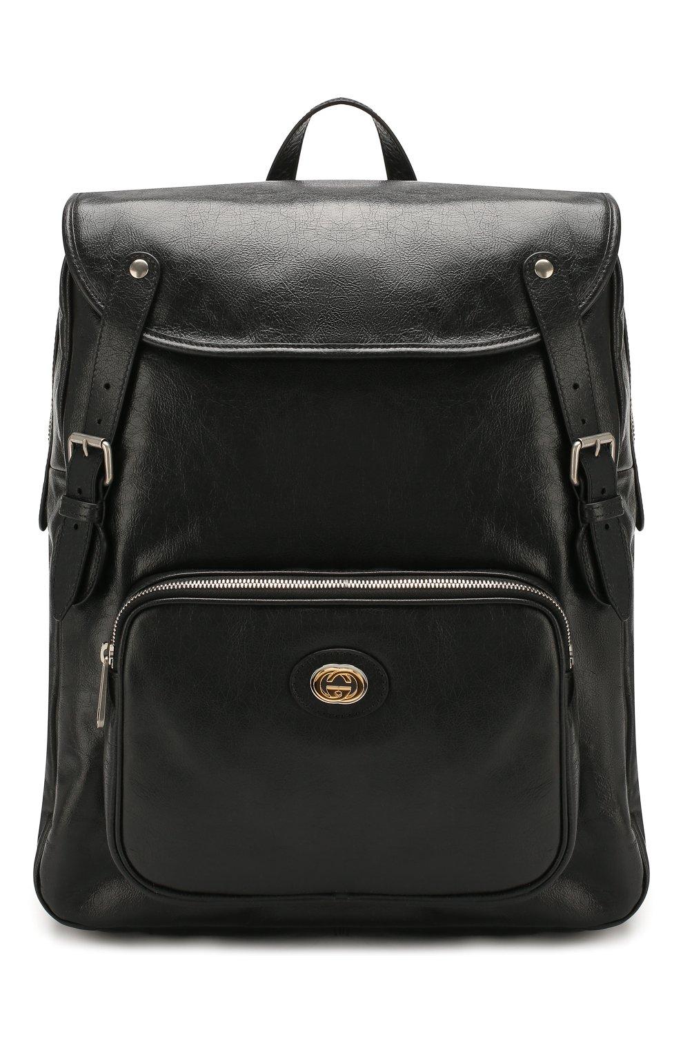 Мужской кожаные рюкзак GUCCI черного цвета, арт. 575823/1GZBX   Фото 1