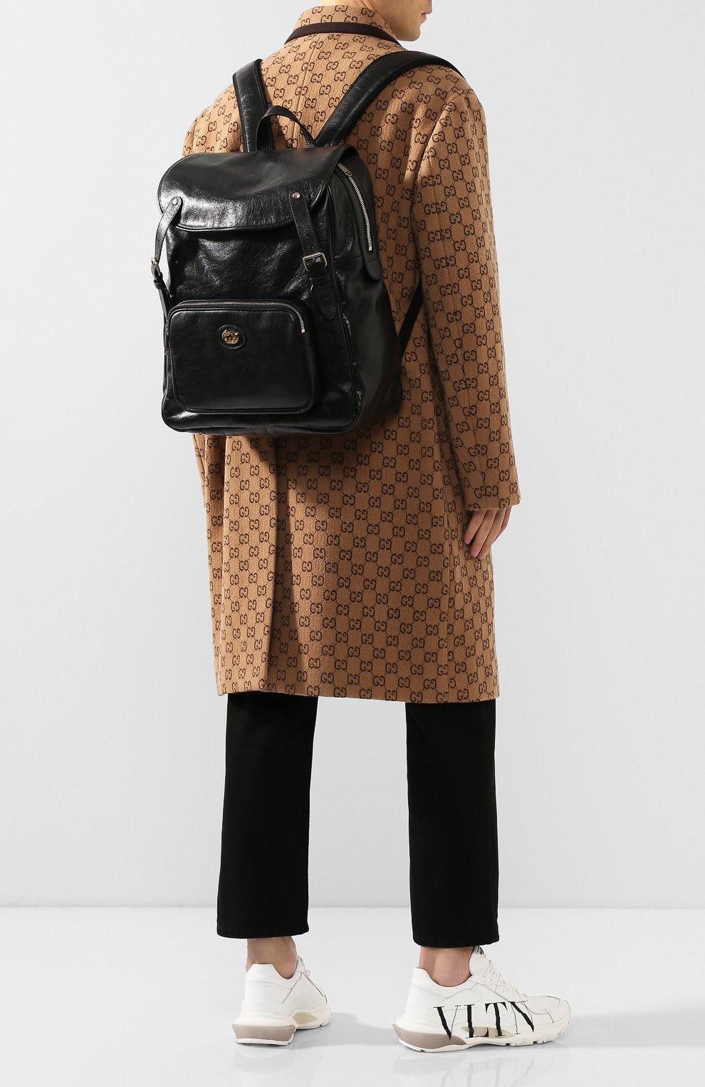 Мужской кожаные рюкзак GUCCI черного цвета, арт. 575823/1GZBX   Фото 2