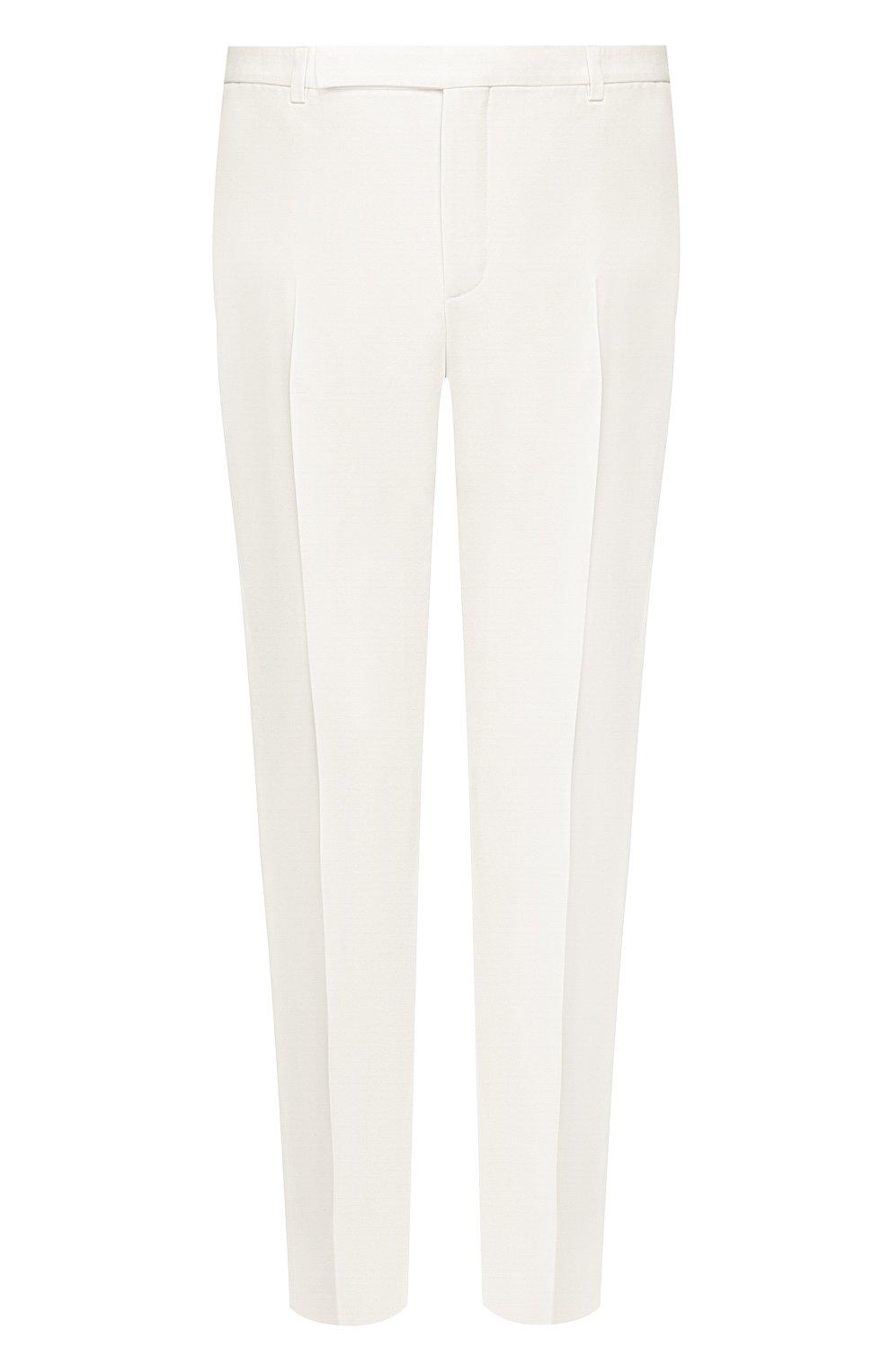 Мужские шерстяные брюки SAINT LAURENT белого цвета, арт. 598345/Y1A09 | Фото 1