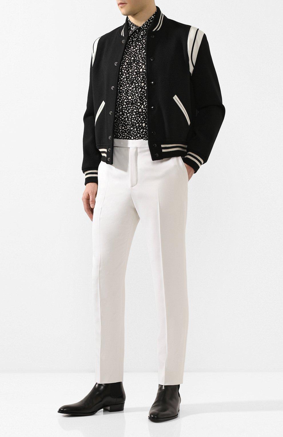 Мужские шерстяные брюки SAINT LAURENT белого цвета, арт. 598345/Y1A09 | Фото 2