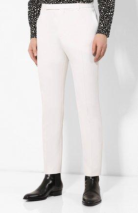 Мужские шерстяные брюки SAINT LAURENT белого цвета, арт. 598345/Y1A09 | Фото 3