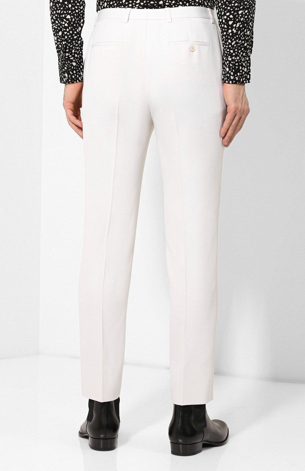 Мужские шерстяные брюки SAINT LAURENT белого цвета, арт. 598345/Y1A09 | Фото 4