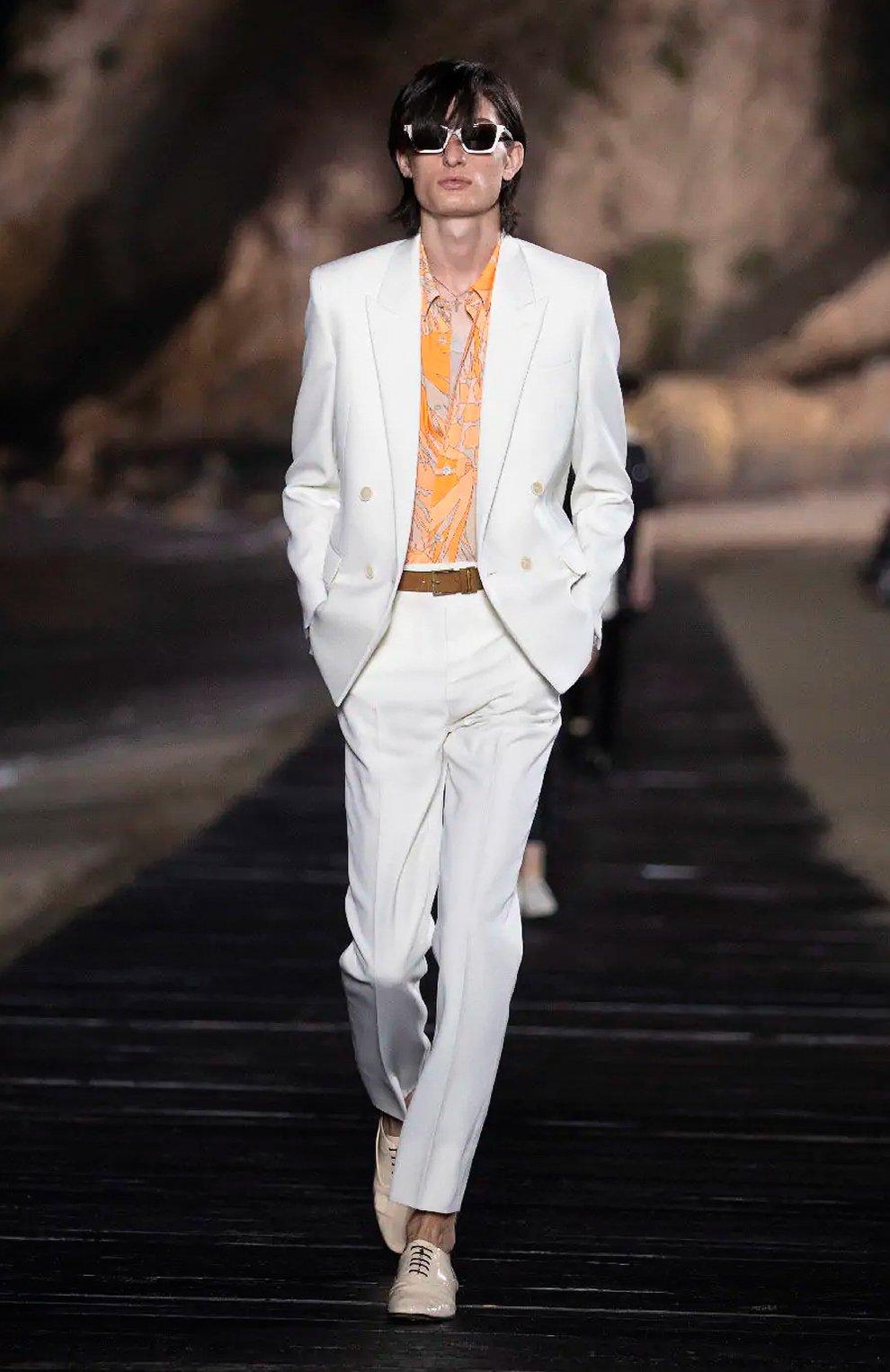 Мужские шерстяные брюки SAINT LAURENT белого цвета, арт. 598345/Y1A09 | Фото 6