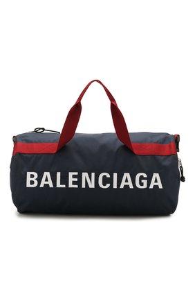 Мужская текстильная спортивная сумка wheel BALENCIAGA темно-синего цвета, арт. 581807/HPG1X | Фото 1
