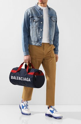 Мужская текстильная спортивная сумка wheel BALENCIAGA темно-синего цвета, арт. 581807/HPG1X | Фото 2