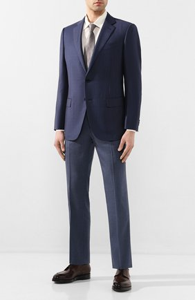 Мужской брюки из смеси шерсти и льна BRIONI синего цвета, арт. RPL60T/P9AB9/TIGULLI0 | Фото 2