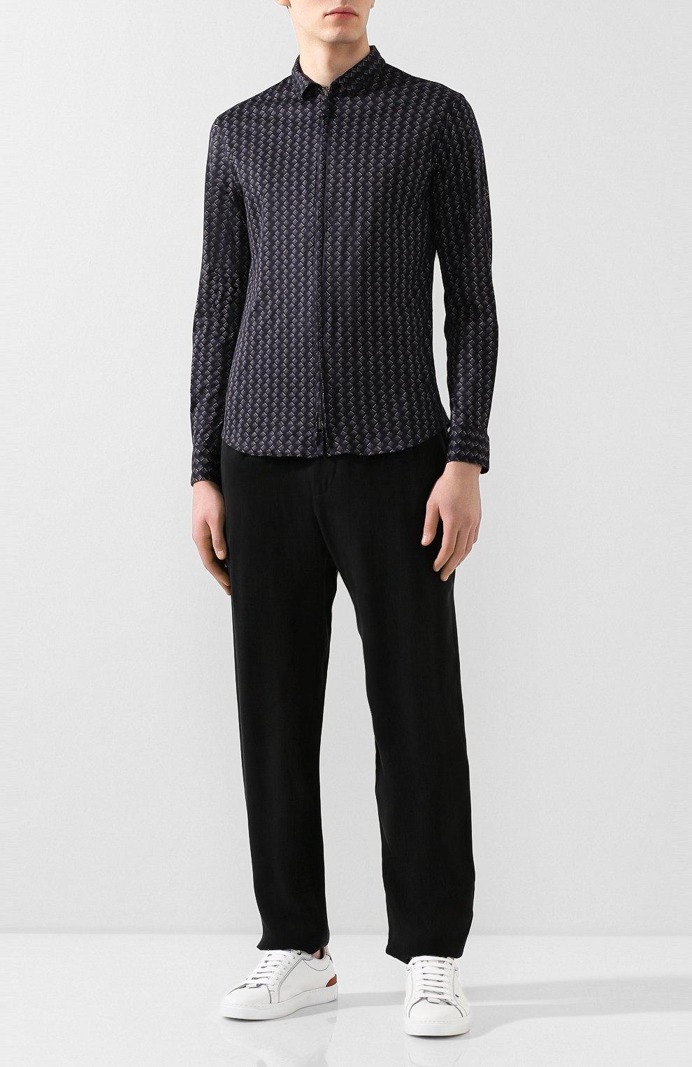 Мужская хлопковая рубашка GIORGIO ARMANI темно-синего цвета, арт. 8WGCCZ5H/JZ545 | Фото 2