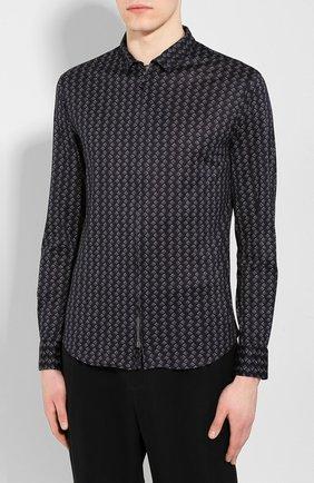 Мужская хлопковая рубашка GIORGIO ARMANI темно-синего цвета, арт. 8WGCCZ5H/JZ545 | Фото 3