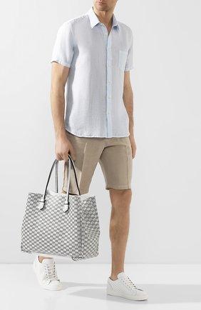 Мужская двусторонняя кожаная сумка MOREAU белого цвета, арт. SVINLDIITTTRSTB | Фото 2