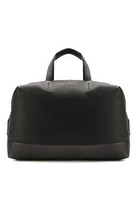 Мужская кожаная дорожная сумка SANTONI черного цвета, арт. UIBBA1936BS-G2MSN01 | Фото 1