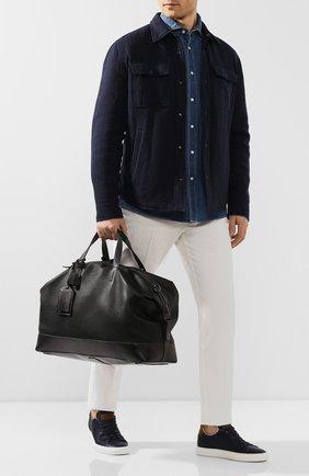 Мужская кожаная дорожная сумка SANTONI черного цвета, арт. UIBBA1936BS-G2MSN01 | Фото 2