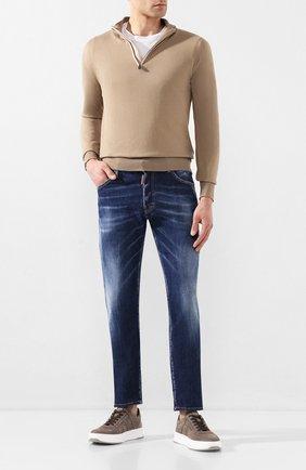 Мужские кожаные кеды TOD'S коричневого цвета, арт. XXM79B0BS10PX6   Фото 2