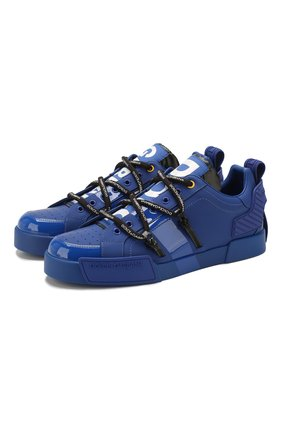 Мужские кожаные кеды portofino DOLCE & GABBANA синего цвета, арт. CS1783/AJ986 | Фото 1