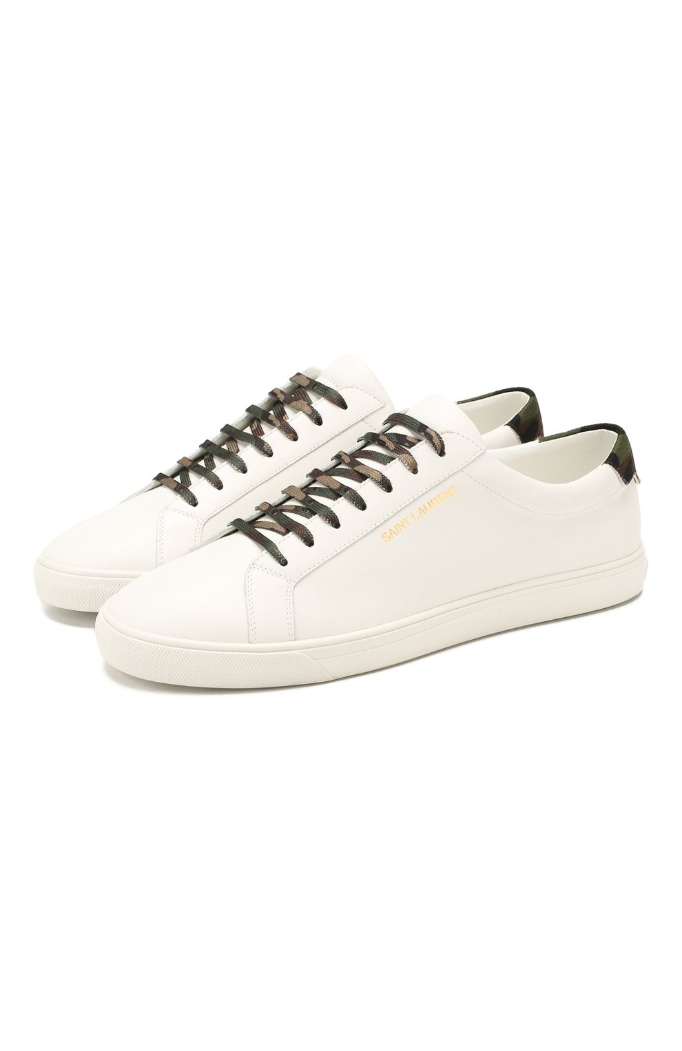 Мужские кожаные кеды SAINT LAURENT белого цвета, арт. 611350/0ZS60 | Фото 1