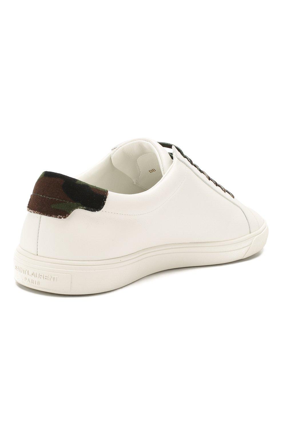 Мужские кожаные кеды SAINT LAURENT белого цвета, арт. 611350/0ZS60 | Фото 4