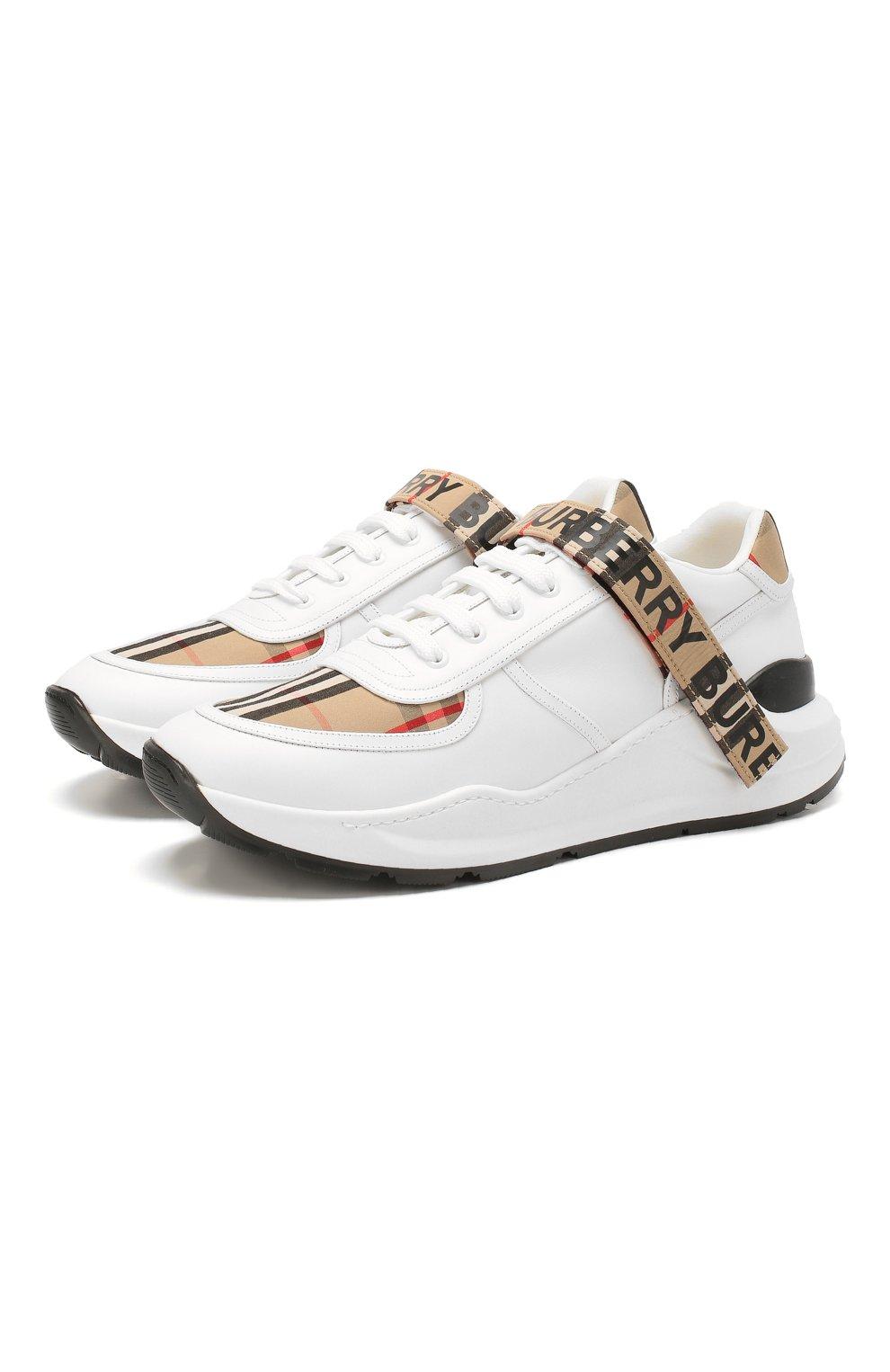 Мужские комбинированные кроссовки BURBERRY белого цвета, арт. 8024052   Фото 1 (Материал внешний: Текстиль; Материал внутренний: Натуральная кожа, Текстиль; Стили: Гранж; Подошва: Массивная)