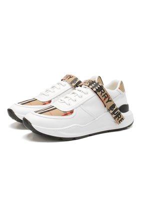 Мужские комбинированные кроссовки BURBERRY белого цвета, арт. 8024052 | Фото 1