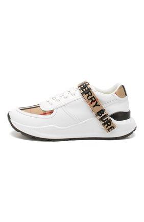 Мужские комбинированные кроссовки BURBERRY белого цвета, арт. 8024052   Фото 3 (Материал внешний: Текстиль; Материал внутренний: Натуральная кожа, Текстиль; Стили: Гранж; Подошва: Массивная)