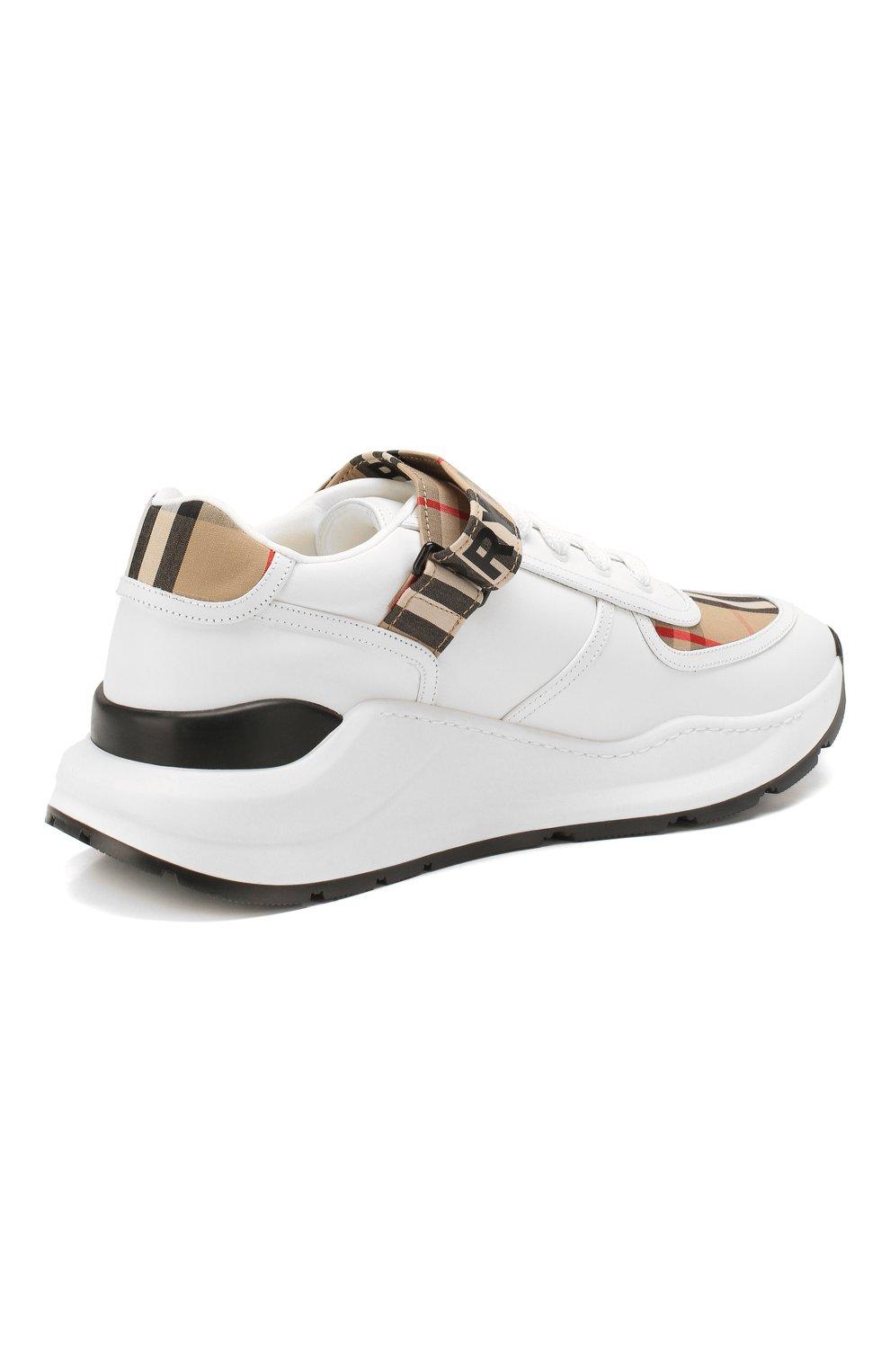 Мужские комбинированные кроссовки BURBERRY белого цвета, арт. 8024052   Фото 4 (Материал внешний: Текстиль; Материал внутренний: Натуральная кожа, Текстиль; Стили: Гранж; Подошва: Массивная)