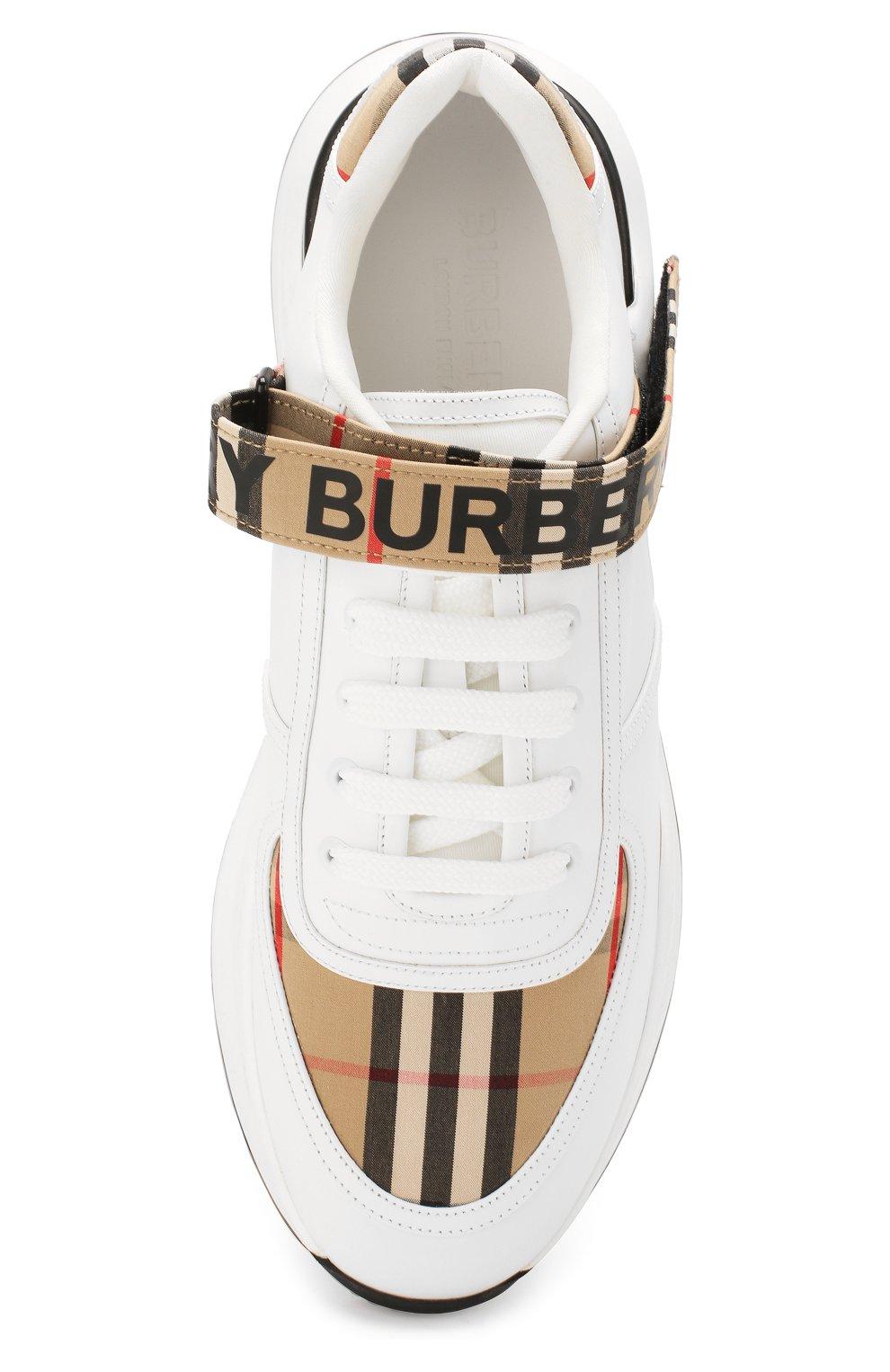 Мужские комбинированные кроссовки BURBERRY белого цвета, арт. 8024052   Фото 5 (Материал внешний: Текстиль; Материал внутренний: Натуральная кожа, Текстиль; Стили: Гранж; Подошва: Массивная)