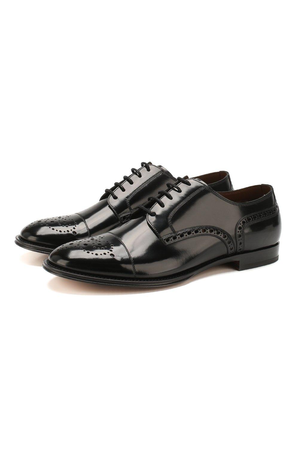 Мужские кожаные дерби DOLCE & GABBANA черно-белого цвета, арт. A10553/AX161 | Фото 1