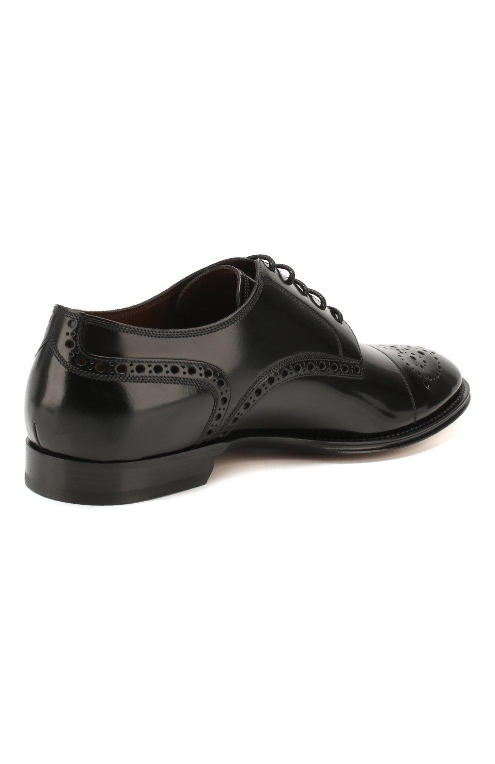 Мужские кожаные дерби DOLCE & GABBANA черно-белого цвета, арт. A10553/AX161 | Фото 4