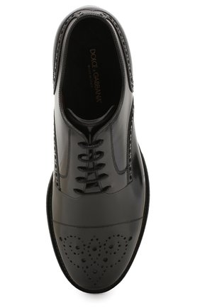 Мужские кожаные дерби DOLCE & GABBANA черно-белого цвета, арт. A10553/AX161 | Фото 5