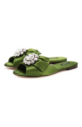 Женские текстильные шлепанцы bianca DOLCE & GABBANA зеленого цвета, арт. CQ0293/A7630   Фото 1