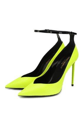 Женская туфли zoe из кожи питона SAINT LAURENT желтого цвета, арт. 592387/EZD10   Фото 1
