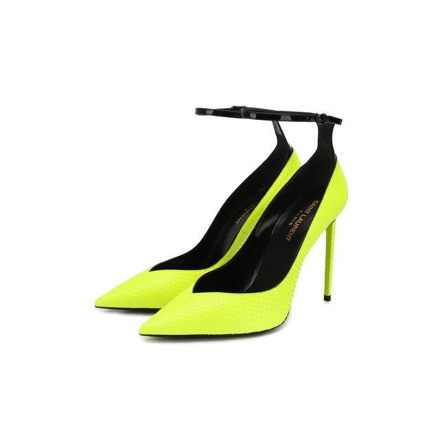 Туфли Zoe из кожи питона Saint Laurent