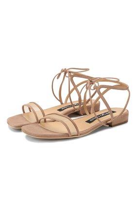 Женские замшевые сандалии SERGIO ROSSI бежевого цвета, арт. A88410-MAFM46 | Фото 1