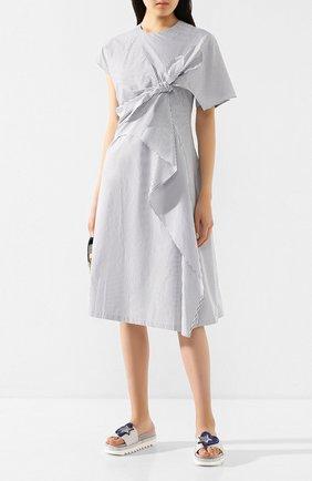 Женские кожаные шлепанцы PERTINI серебряного цвета, арт. 201W16677D1   Фото 2