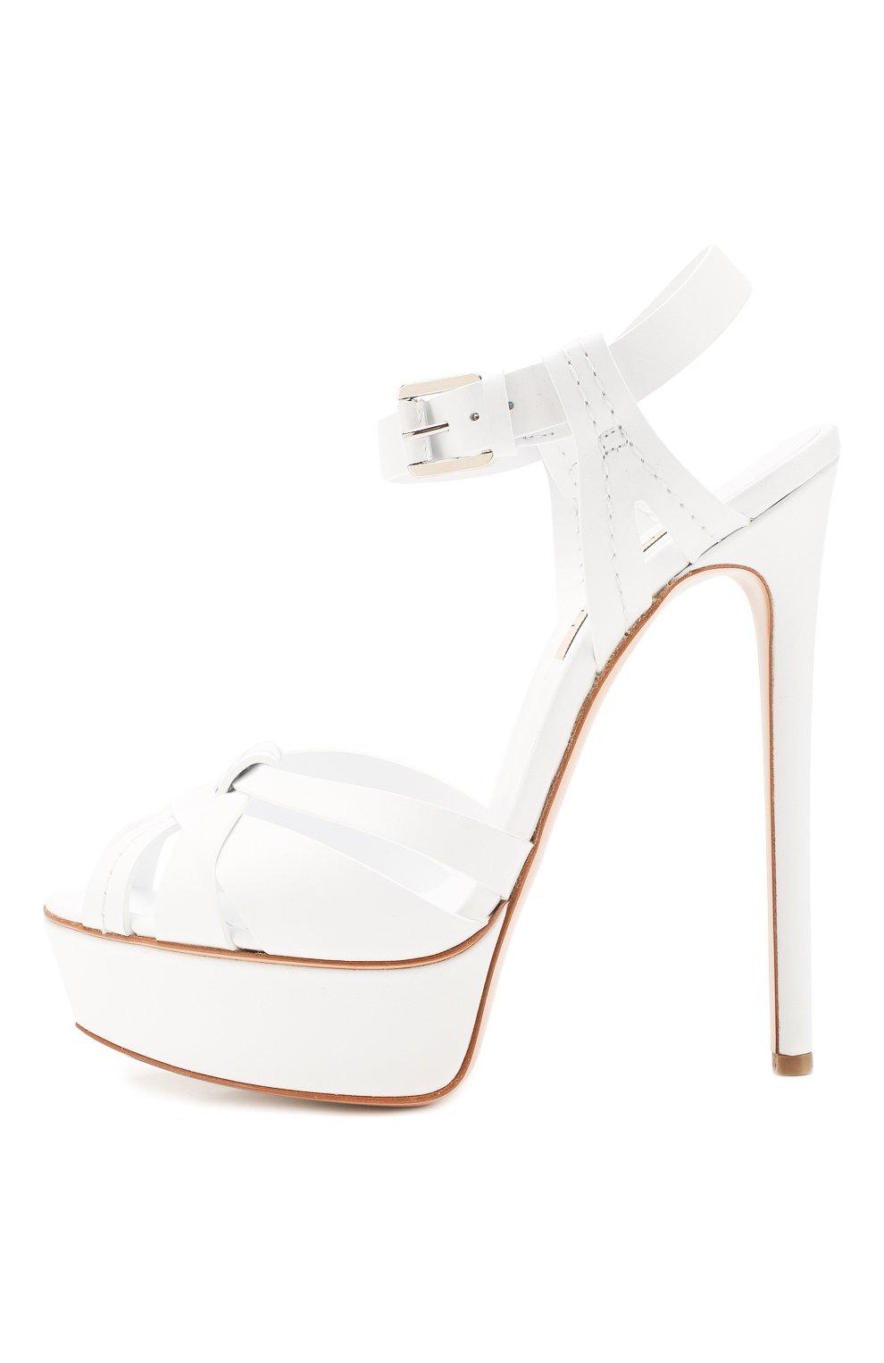 Женские кожаные босоножки CASADEI белого цвета, арт. 1L676K1401FL0RE9999 | Фото 3