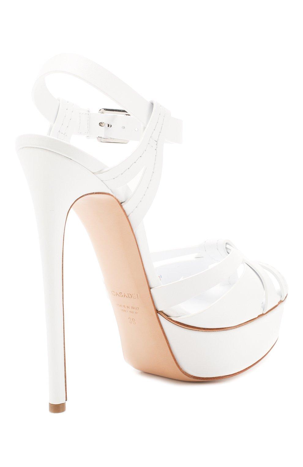 Женские кожаные босоножки CASADEI белого цвета, арт. 1L676K1401FL0RE9999 | Фото 4